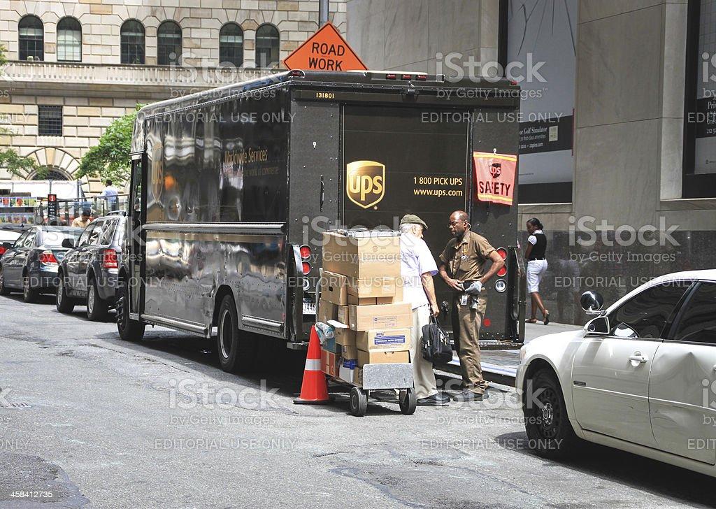 UPS Shipping truck, New York stock photo