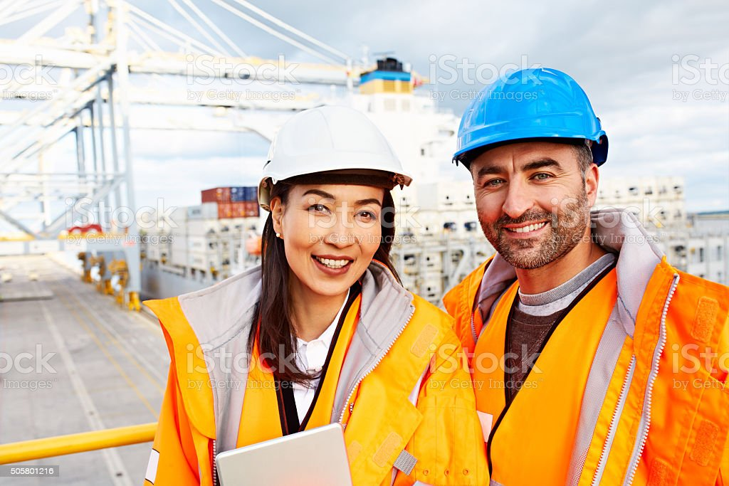 Shipping with a smile stock photo
