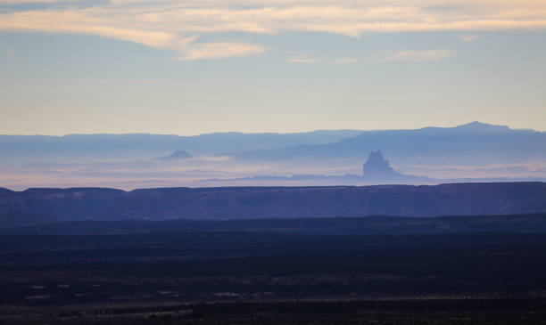 Shiprock over the sunset. stock photo