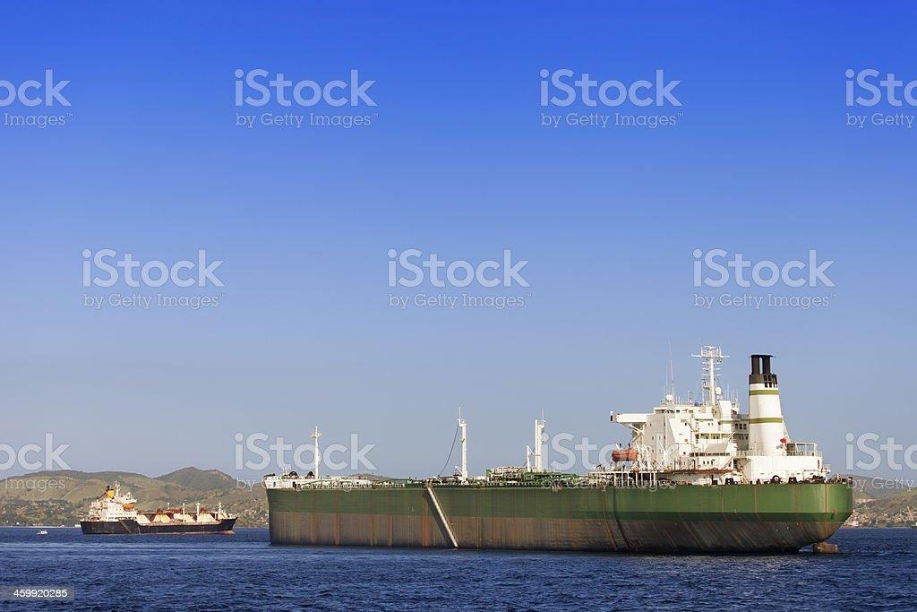 Ships anchored at Guanabara Bay in Rio royalty-free stock photo