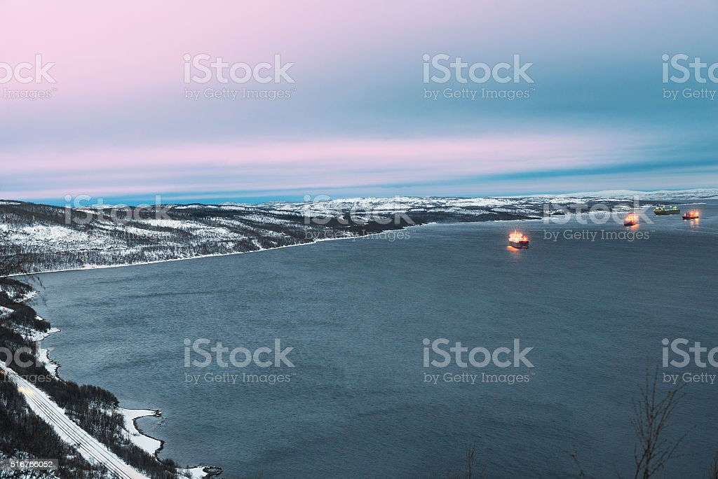 Ships anchored in the Kola Bay. stock photo