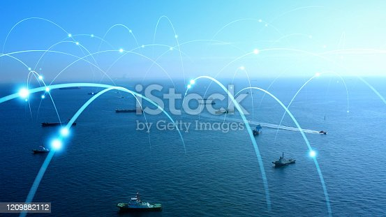 istock Ships and communication network concept. maritime traffic. 1209882112