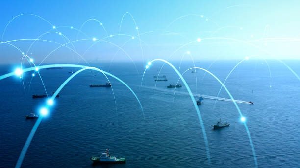 Ships and communication network concept. maritime traffic. stock photo