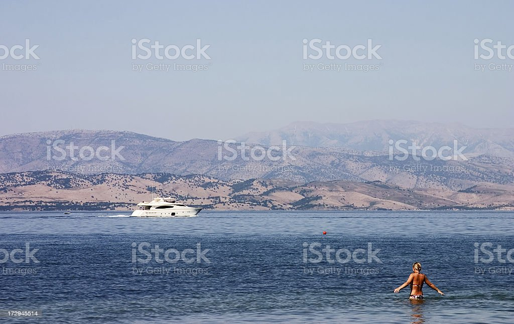 Ships and women stock photo
