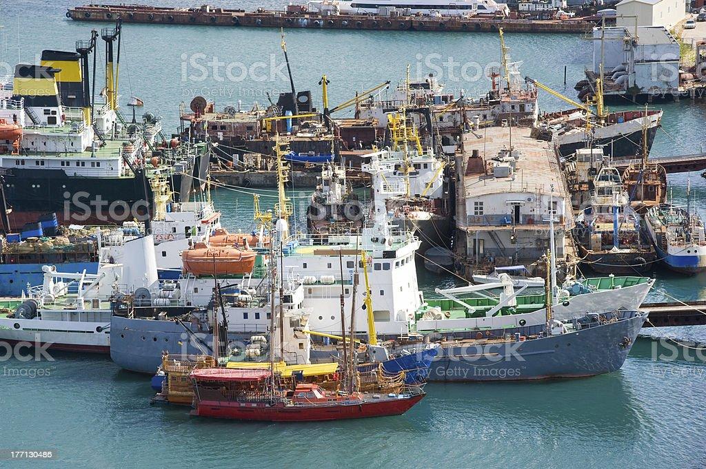 ships at moorage stock photo
