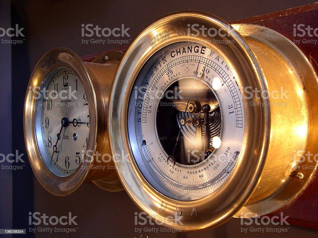 Ships Barometer and Chronometer royalty-free stock photo