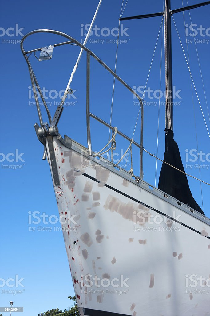 Ship's bow under repairing royalty-free stock photo