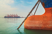 istock Ship's bow with anchor. 1207572101