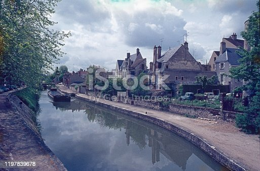 Montargis, Center-Val de Loire, France, 1974. Ship Canal in the central French city of Montargis.