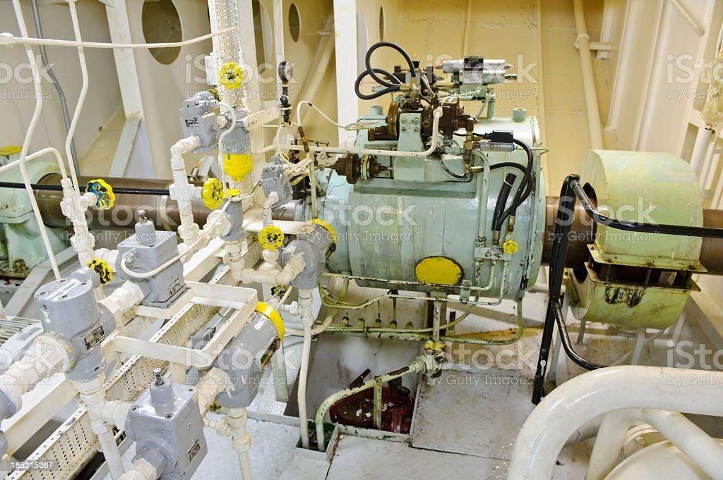 Ship's engine room stock photo