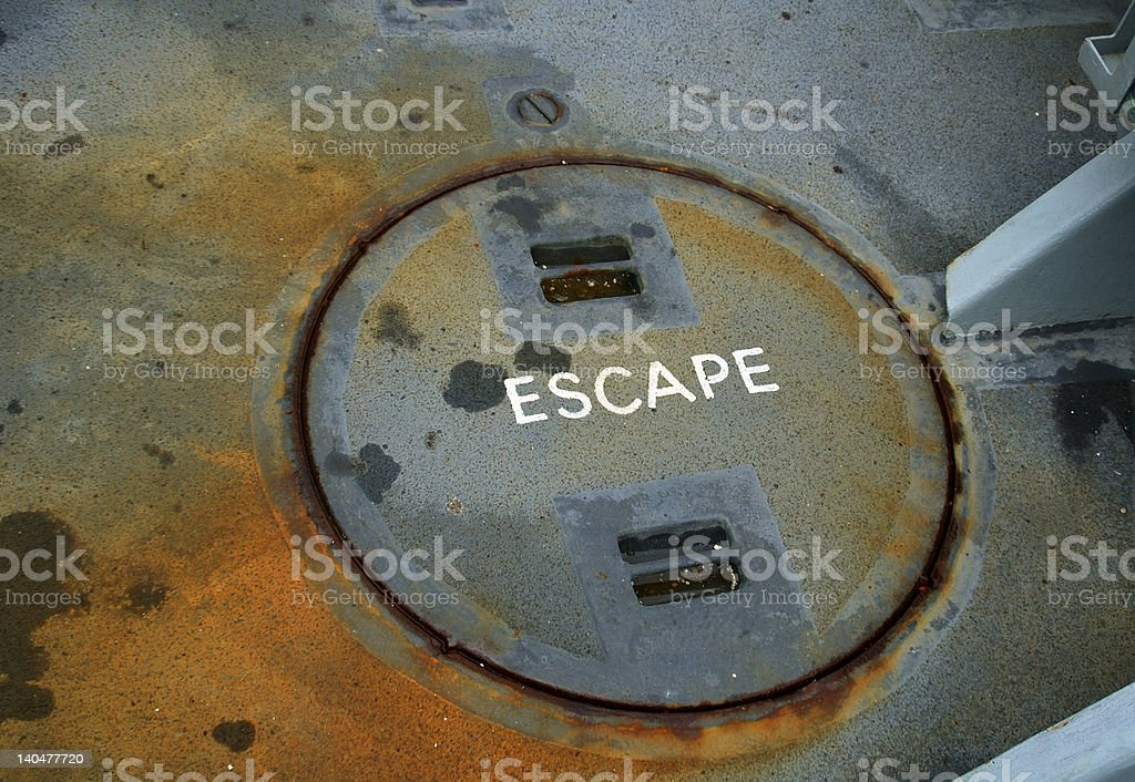 Ships Escape Hatch stock photo