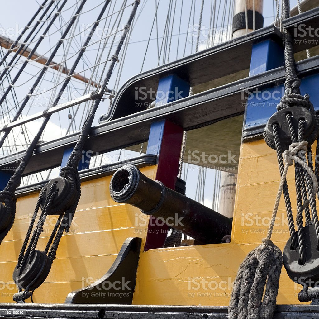 Ship's gun port and cannon royalty-free stock photo