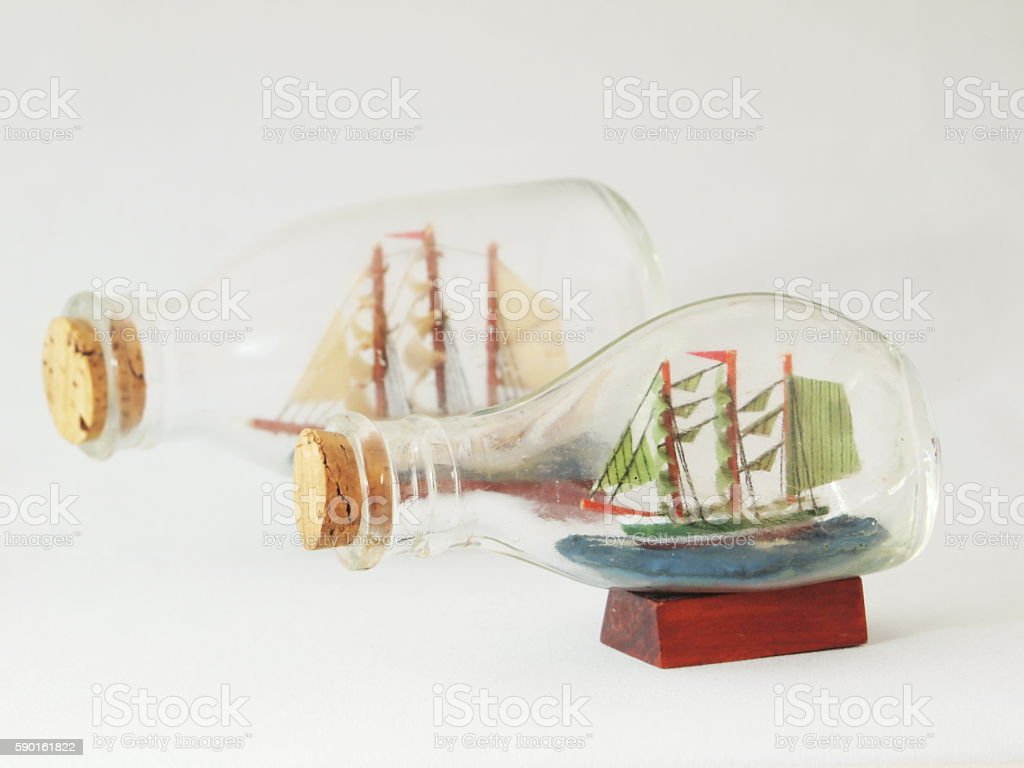 ships in a bottles stock photo