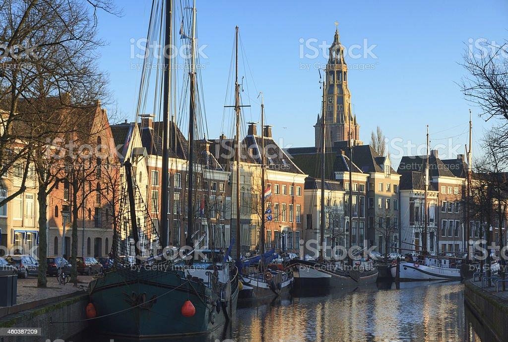 Ships in Groningen stock photo