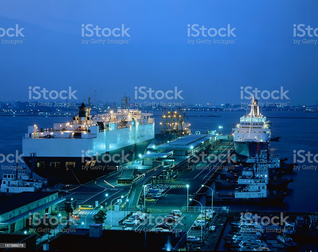 ships in harbor at night royalty-free stock photo