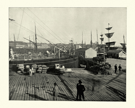 Vintage photograph of Ships in harbour of Auckland, New Zealand, 19th Century