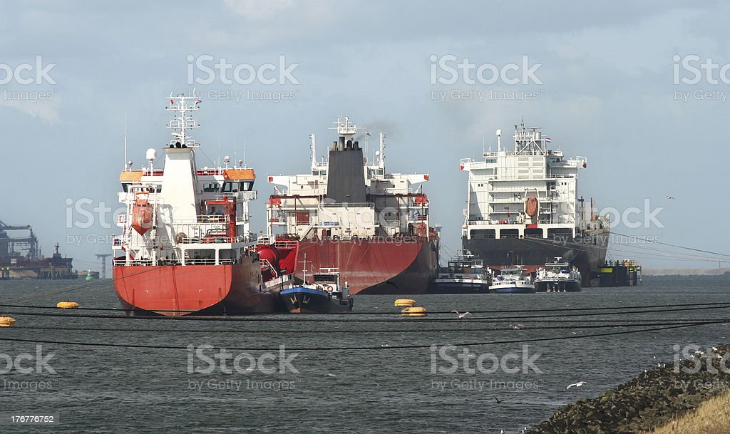Ships in Rotterdam Harbor royalty-free stock photo