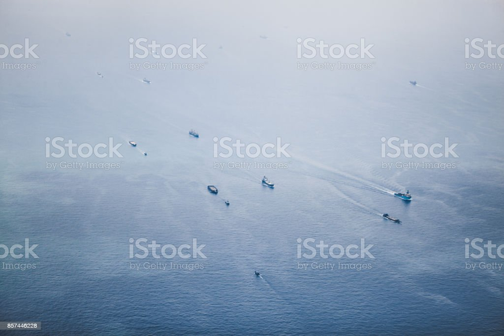 Ships in Straits of Singapore from the height stock photo