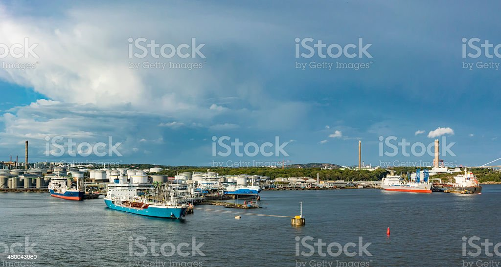 Ships in the energy ports on Hisingen, in Gothenburg's harbour stock photo