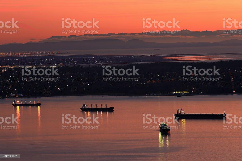 Ships in the harbor stock photo