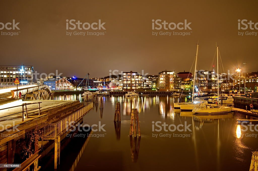 Ships in the port of Trondheim, Norway stock photo