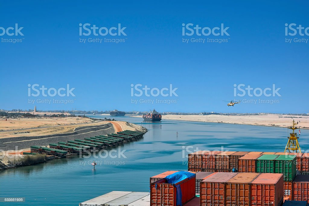 Ships in the Suez Canal stock photo