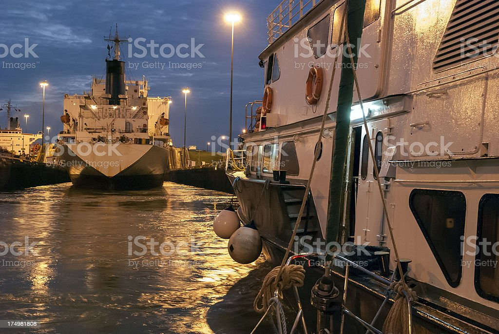 Ships in the Gatun Locks on Panama Canal royalty-free stock photo