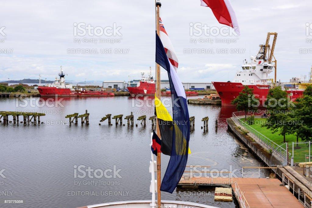 Ships moored in  Edinburgh Docks, Newhaven,  Scotland stock photo
