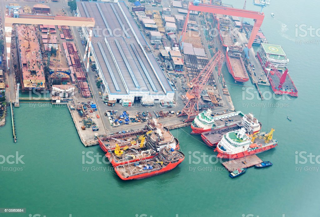 Ships on drydock stock photo