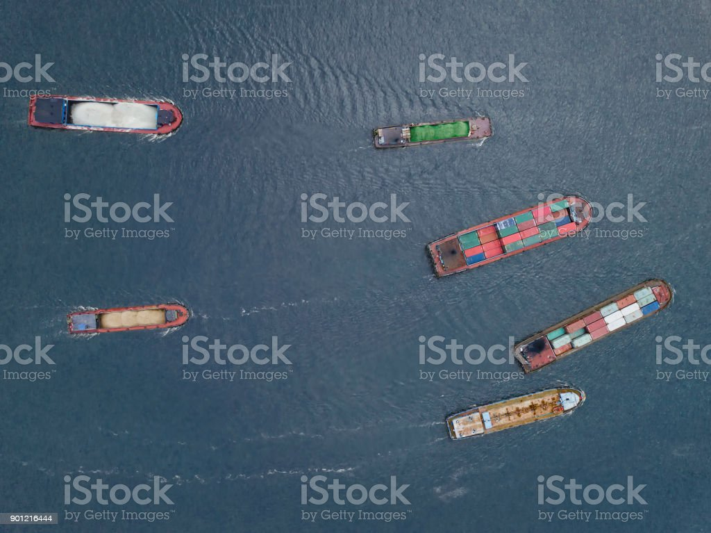 Ships on river stock photo