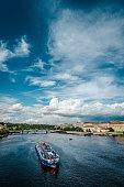 Ships On Vltava River In Prague, Czech Republic