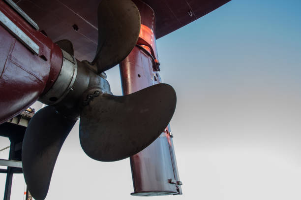 Ships rudder and propeller of a dry cargo vessel in dry dock stock photo