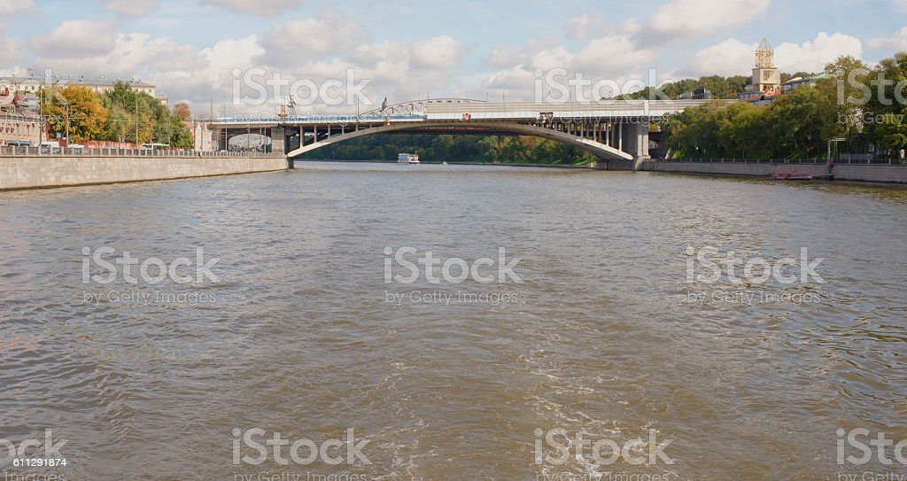 Ships sailing under the New Andreevsky Bridge in Moscow stock photo