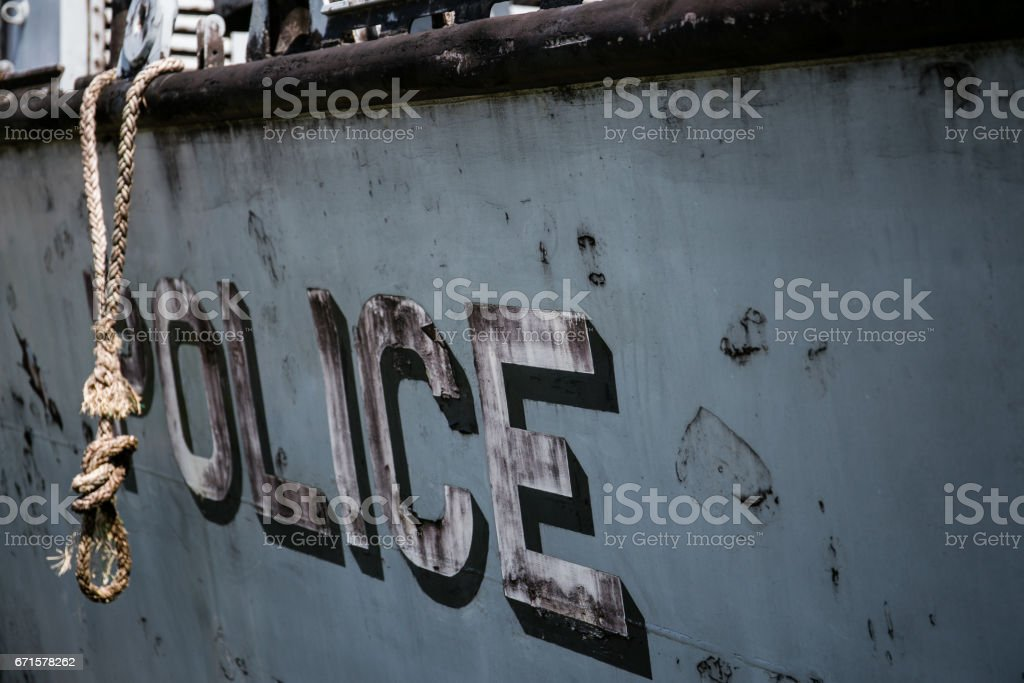 Ships that crashed through the tsunami stock photo