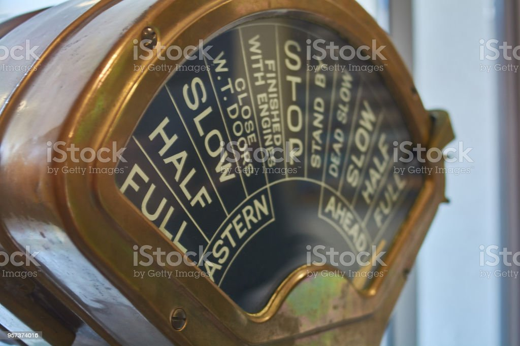 Ship's vintage brass made telegraph stock photo