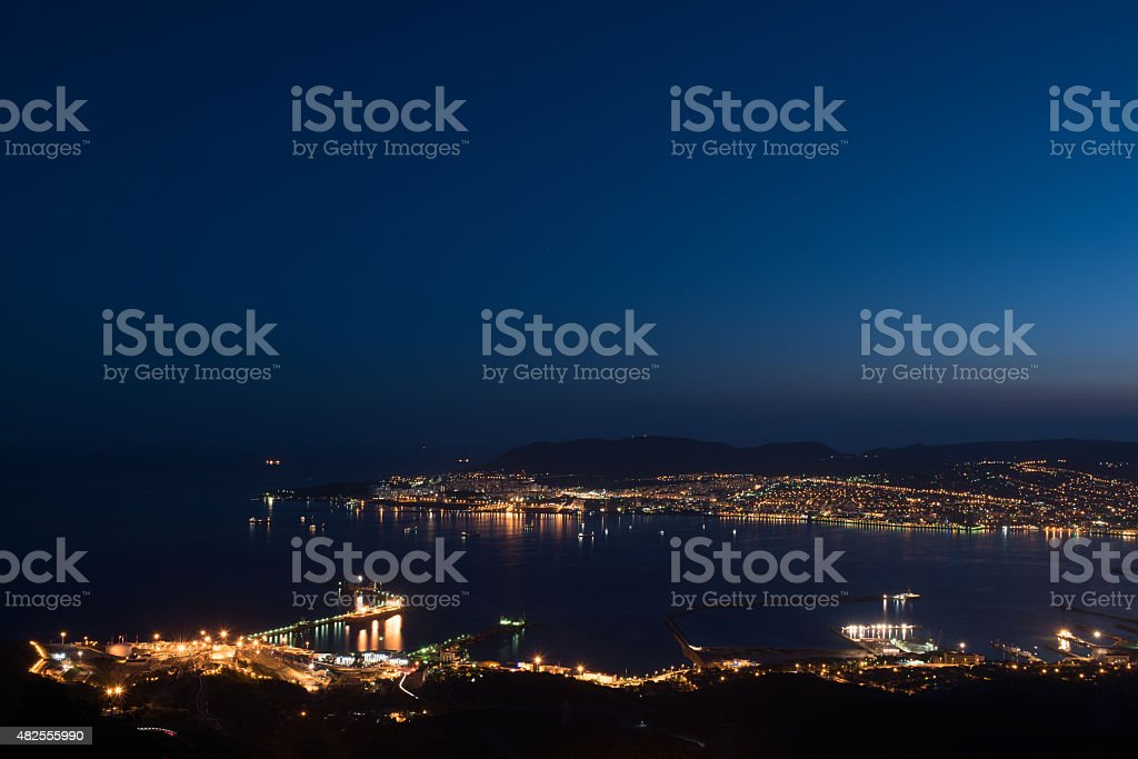 Ships waiting in the bay of Novorossiysk by Night stock photo
