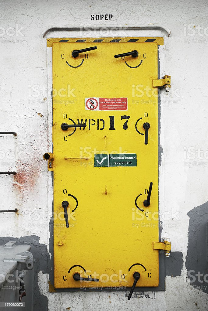 Ship's Watertight Door royalty-free stock photo