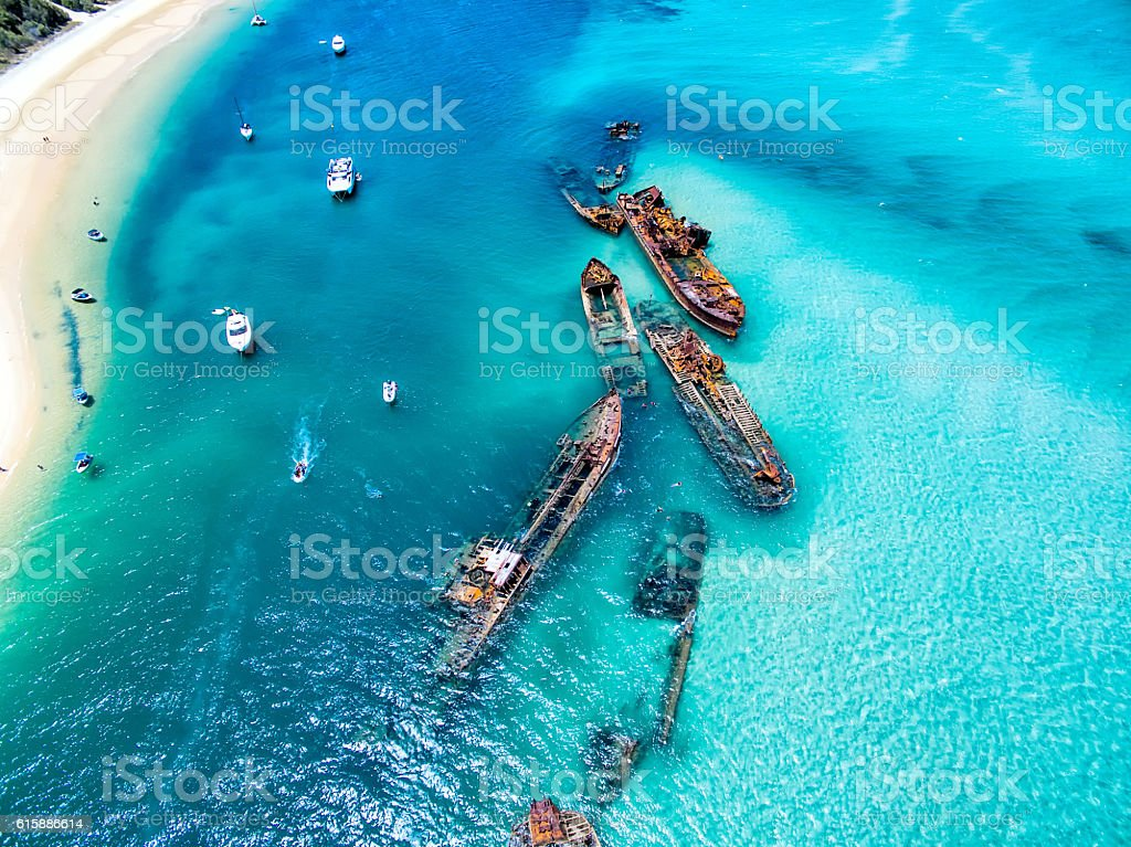 Shipwreck aerial stock photo