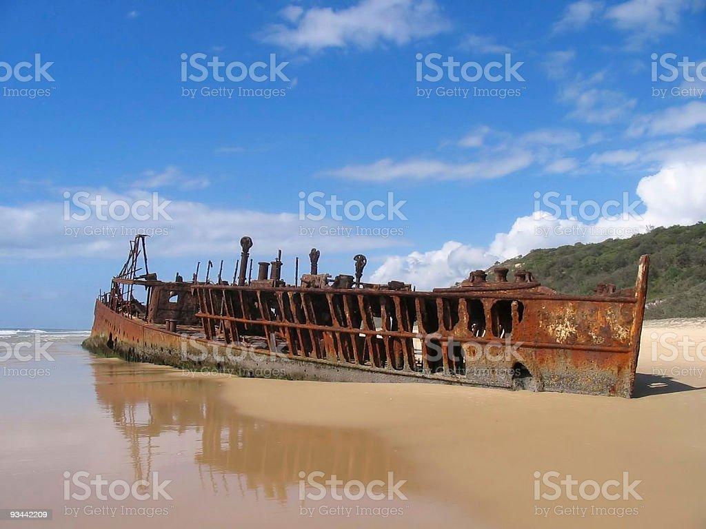 Shipwreck at Fraser Island Nobody stock photo