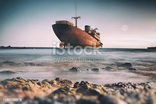 istock Shipwreck at Lanzarote, Canary Islands, Spain 1285236979