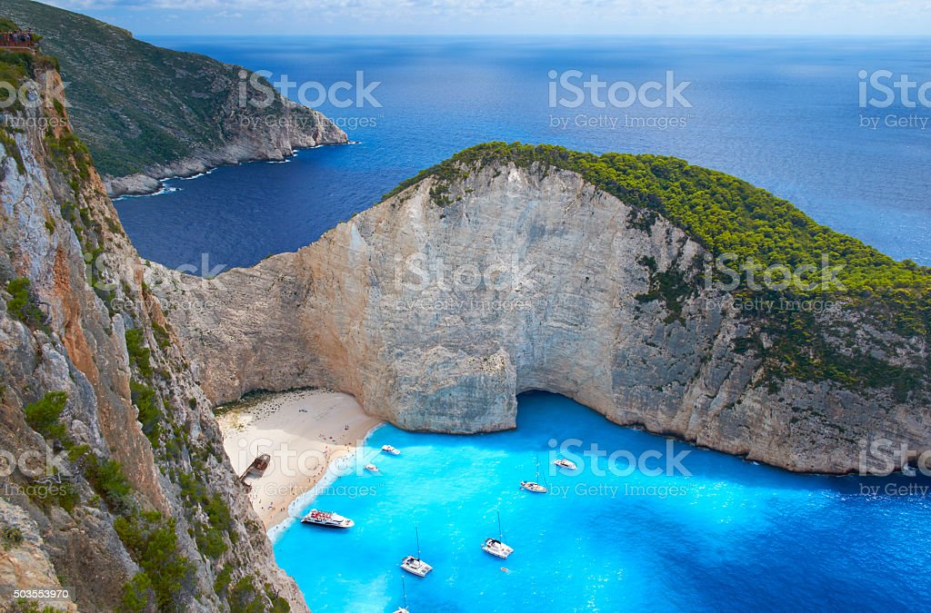 Shipwreck Beach In Zakynthos, Greece stock photo