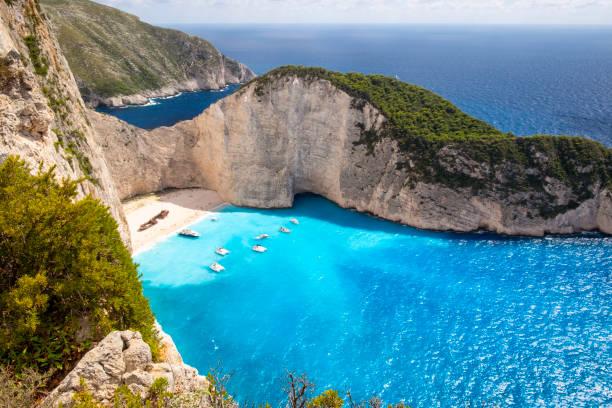 Shipwreck Beach Of Zakynthos stock photo