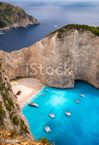 Navagio Beach, or Shipwreck Beach, on the coast of Zakynthos, Greece.