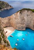 Navagio Beach, or Shipwreck Beach, on the coast of Zakynthos, Greece.