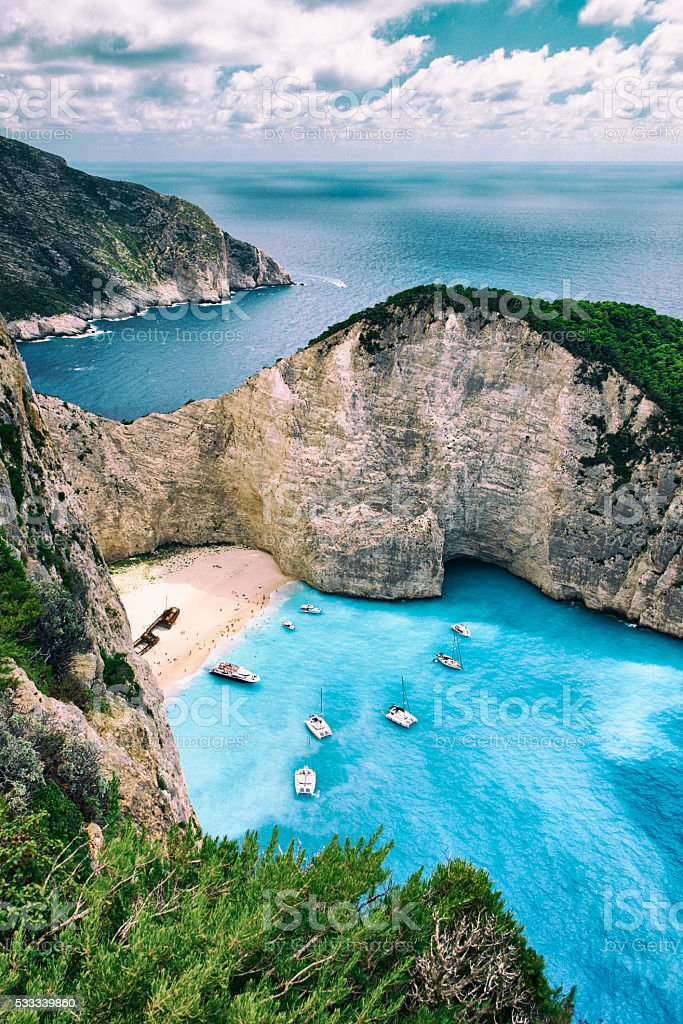 Shipwreck Beach Of Zakynthos stock photo