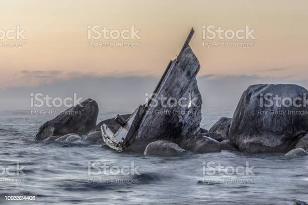 Photo of Shipwreck Beached On The Rocky Coast Of Lake Huron In Michigan