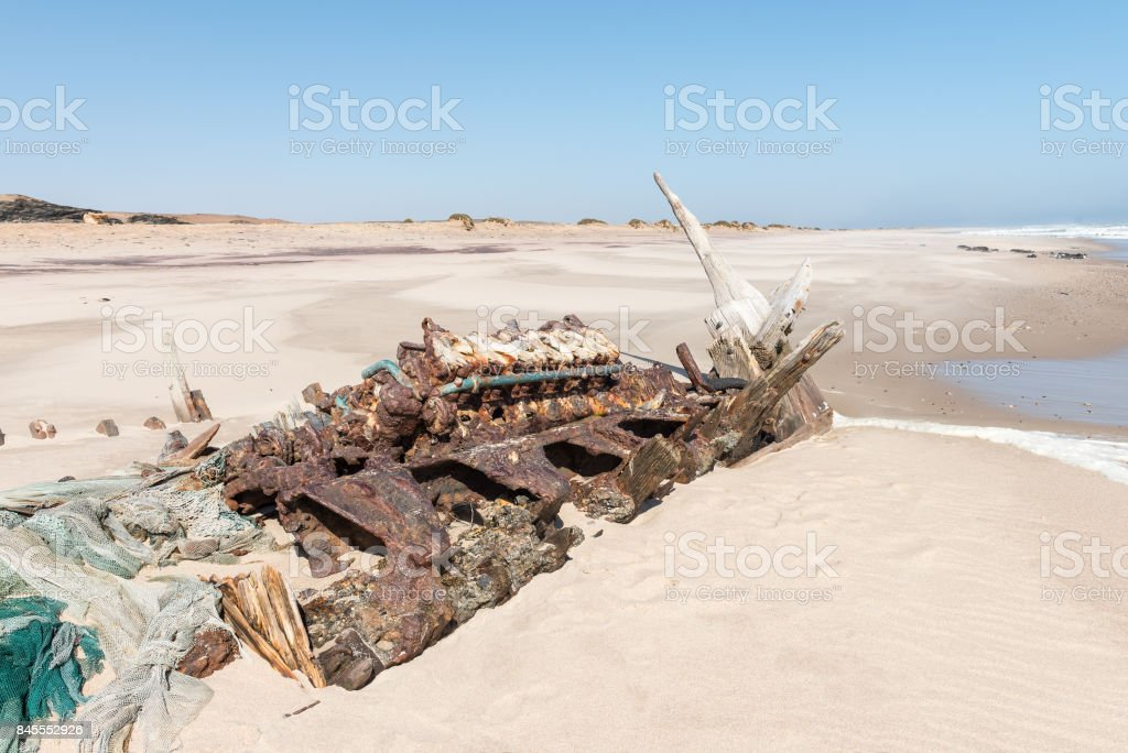 Shipwreck Benguela Eagle, which ran aground in 1973 stock photo