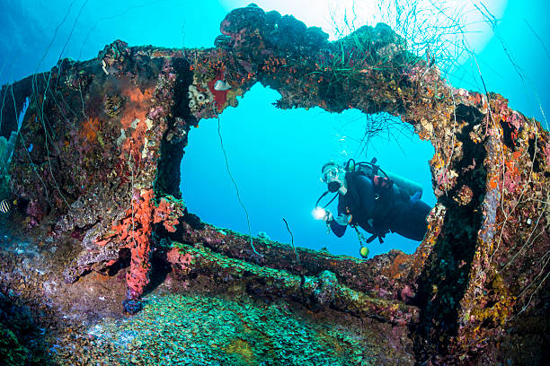 Shipwreck dive - Palau, Micronesia A female diver exploring the wreck Teshio Maru a Japanese Army Cargo Ship with 321 feet (98) on it's length, and was built in 1942-1944. The Teshio is one of the fishiest wrecks in Palau sunken stock pictures, royalty-free photos & images