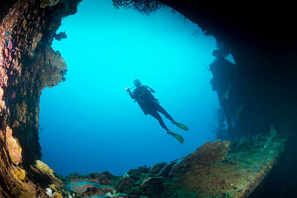 shipwreck dive - palau, micronesia - wreck diving stock pictures, royalty-free photos & images