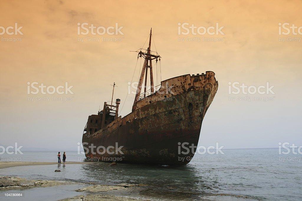 Shipwreck, Greece stock photo